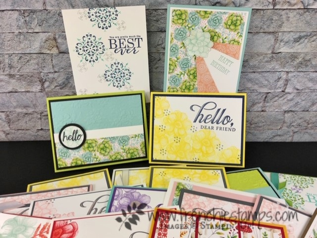 Sale a Bration products. All Adorned stamp set, Country Floral Embossing Folder, Painted Seasons with designer paper. Lots of sample. Detail at frenchietamps.com all product by Stampin'Up! and free with qualified orders.