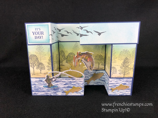 Great masculine card with the Best Catch, Lovely as a Tree, High Tide. 3-D fold great to showcase a scenery. All supplies by Stampin'Up! available at Frenchie Stamps.