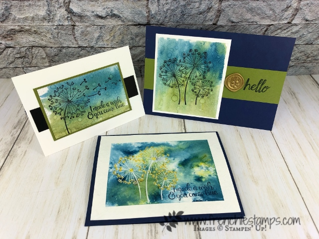 Water Drop on Brusho for a cool background. Stamp Set Dandelion Wishes. All product by stampin'Up! available at frenchiestamps.com