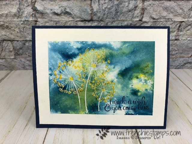 Emboss on Brusho. Stamp Set Dandelion Wishes. All product by stampin'Up! available at frenchiestamps.com