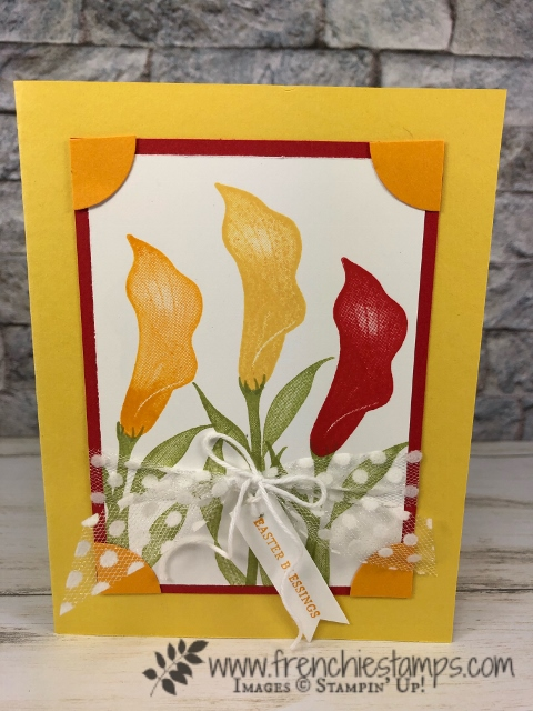 Lasting Lily Daffodil Delight, Mango Melody and Poppy Parade. Curl baker's twine. All Product by Stampin'Up! available at frenchiestamps.com
