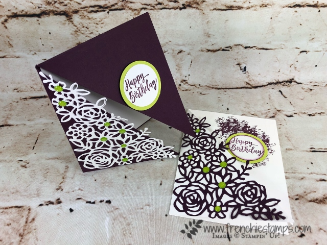 Diagonal Fold and Springtime Impressions Thinlits. So simple one sheet one cut, 2 score line will make 2 cards. All products by Stampin'Up! Available at frenchiestamps.com