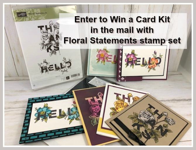 Enter to win a stamp set the Floral Statement plus a card kit to make 6 cards. Also the PDF to make all cards. Leave a comment on my blog for a chance to win. www.frenchiestamps,com