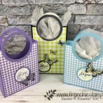 Circle Handle Bag. Using the Gala Designer paper. These bag are simple to make. The Layering circle framelits is the product that make this bag so simple. All products by Stampin