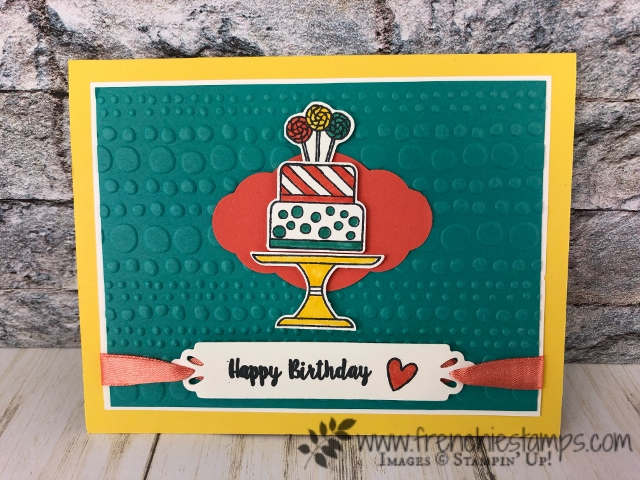 Bright cards with Piece of Cake stamp set and Cake Builder Punch. All product by Stampin'Up! available  at frenchiestamps.com