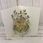 Pop Up flower box with the Flourish Thinlits. Stamp set for the greeting is Fable Friends. All supplies by Stampin