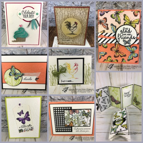 Frenchie last share of Sale a bration inspiration. Hello Cupcake, Botanical Butterfly, Home To Roost. All product by Stampin'Up! available at frenchiestamps.com