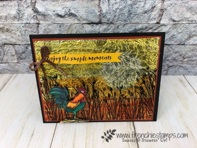 How to make a background with foil, window sheet and stampin' blends. Stamp set Home to Roost. All products by Stampin'Up! available at frenchiestamps.com