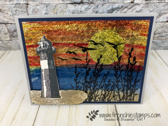 How to make a background with foil, window sheet and stampin' blends. Stamp set High Tide, Country Road. All products by Stampin'Up! available at frenchiestamps.com