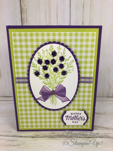 Frenchie's Team in the spotlight with the Gala Designer Paper. Stamp Set Whishing You Well. All product by Stampin'Up available at frenchiestamps.com