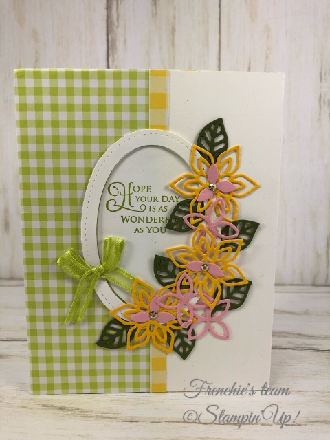 Frenchie's Team in the spotlight with the Gala Designer Paper. Frenchie's Team in the spotlight with the Gala Designer Paper. Flourish Thinlits, All product by Stampin'Up available at frenchiestamps.com