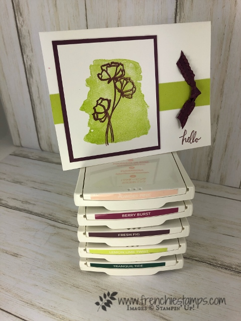 Time is running out for Stampin'Up! In Color 2017-2019. Time to stock up with card stock, ink and embellishment. Soon Fresh Fig, Powder Pink, Lemon Lime Twist, tranquil Tide and Berry Burst will be gone. Get your product at frenchiestamps.com