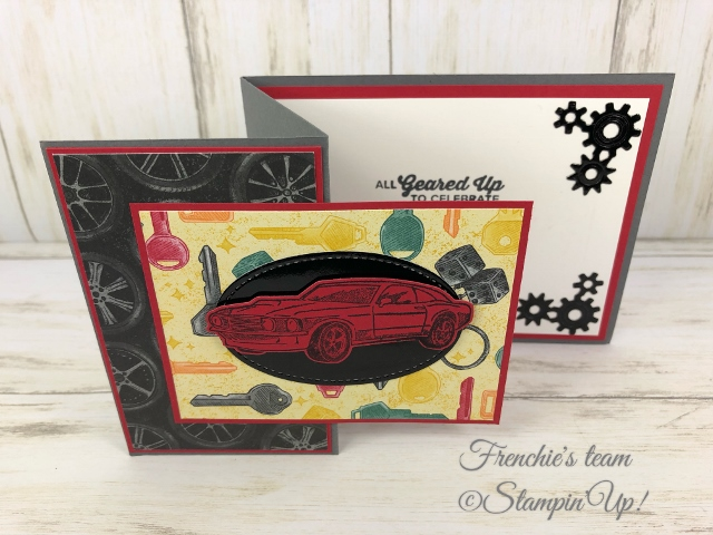 Geared up Garage Stamp set, Garage Gears Die and Classic Garage Challenge with Frenchie's Team. All product by Stampin'Up! avaialble at frenchiestamps.com
