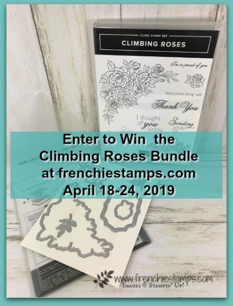 Visit my blog at frenchiestamps.com to enter in the giveaway. I will have a drawing on April 10 2019 for the Wonderful Romance bundle by Stampin'Up!