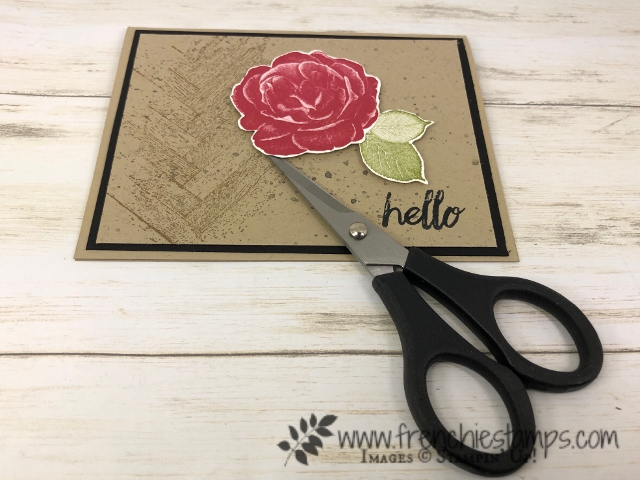 Tip to fussy cutting and how to qualified to get a pair of paper snip for free. All at frenchiestamps.com Stamp set is Healing Hug for this card.