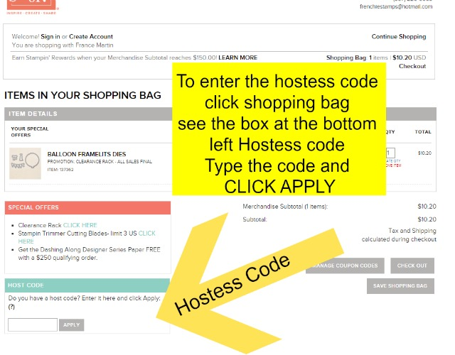 How to enter hostess code on a Stampin'Up! order at frenchiestamps.com