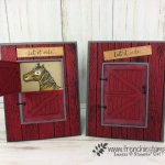 Using the Sliding Door die to make a half door for the horse in the barn. Stamp set Let it Ride. All supplies are by Stampin