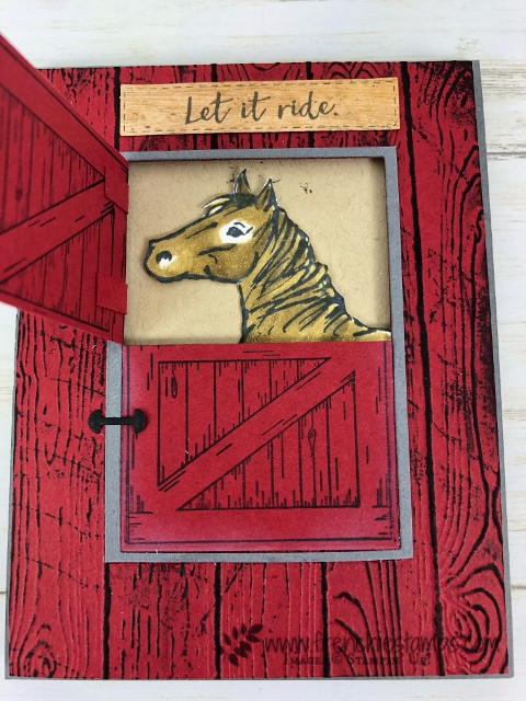 Using the Sliding Door die to make a half door for the horse in the barn. Stamp set Let it Ride. All supplies are by Stampin'Up! available at frenchiestamps.com