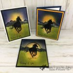 Silhouette and Sunrise using Let it Ride and Waterfront stamp set. All product by Stampin
