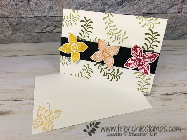 Best to to align Pop of Petal stamp set with the Four Petal flowerpunch. This tip will save you some time and frustration. All product by Stampin'Up! available at frenchiestamps.com
