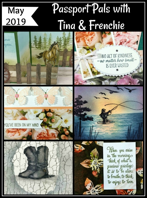 Frenchie Customer appreciation with the Passport Pals. Stamp set Country Livin', Let It Ride, Best Catch, Act of Kindness, Butterfly Gala, Pop of Petal. All product by Stampin'Up! available at frenchiestamps.com