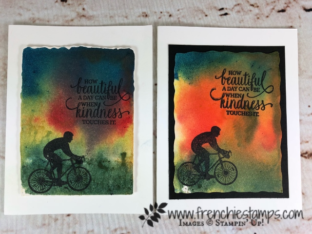 Simple card with Brusho background on shimmery cardstock. Stamp Set Enjoy Life stamp set. All product available at Frenchiestamps.com