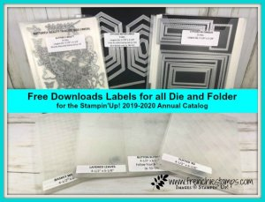 Free download for  labels of 2019-2020 Stampin'Up!  Die and embossing folder. Provided by frenchiestamps.com