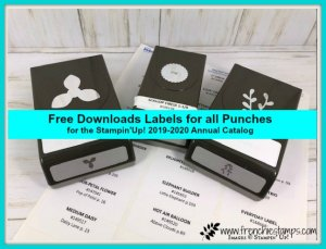 Free download for labels of 2019-2020 Stampin'Up! Punches. Provided by frenchiestamps.com