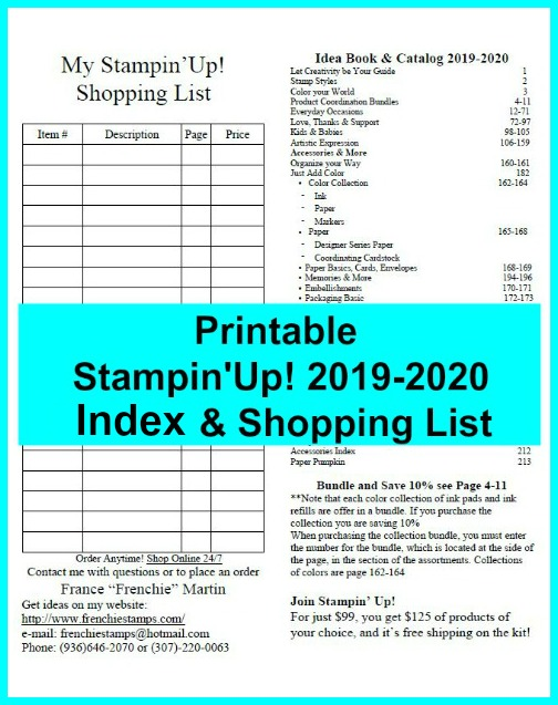 Printable Stampin'Up! Shopping List 2019-2020 and more