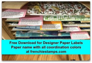 Free download for 2019-2020 Designer paper. Name of the paper with coordination colors. Awesome tool to organize your designer paper. get your free download at frenchiestamps.com
