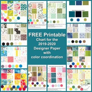 2019-2020 Stampin'Up! designer Paper Chart with color coordination. Print yours for free at frenchiestamps.com