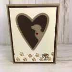 Paw Print on Your Heart. Using the Happy tail stamp set, Dog builder punch and Stitched Be mine die. All product by Stampin