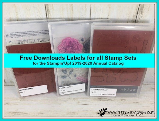 Get Free download for labels for all Stampin'Up! Die, Punch and Stamp set. A great way to get organize and easy to find product coordinate together. Free download at frenchiestamps.com