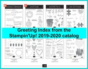 Stampin'Up! 2019-2020 Greeting Index come get the download at frenchiestamps.com