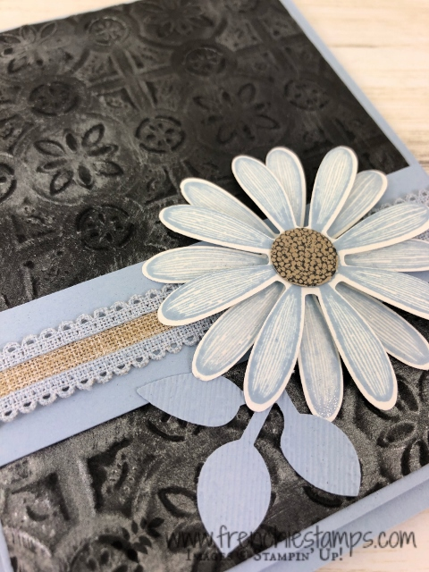 Daisy Lane and Tin Tile with Shimmer Paint. Elegant look with a splash of seaside Spray. All products by Stampin'Up! available at frenchiestamps.com