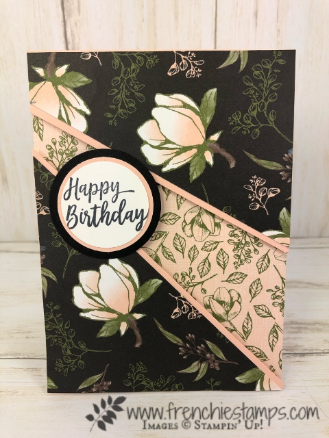 Recessed card with a gift card holder. Using the Magnolia Lane designer paper. All product by Stampin'Up! available at frenchiestamps,com