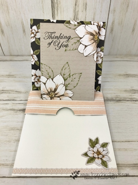 How to make a slider Pop Up Easel card. Using the Magnolia Memories and more card pack and the stamp set Good Morning Magnolia. All product by Stampin'Up! available at frenchiestamps.com