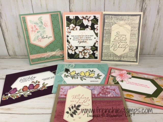Swap from the 2019-2020 Annual Catalog. All product available at frenchiestamps.com To a Wild Rose, Sailing Home, Woven Heirlooms, Over the Moon, Good Morning Magnolia and more