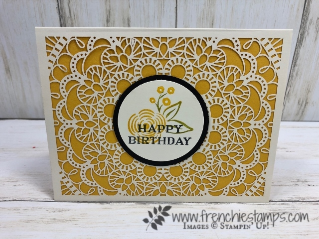 How to add a color layer to the Bird Ballad Laser-Cur card. All product by Stampin'Up! avaialble at frenchiestamps.com #stampinup #stamping #frenchiestamps #cardmaking #papercrafts #handmadecards