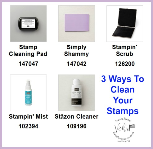 3 Way to clean your rubber and photopolymer stamps. All products by Stampin'Up! available at frenchiestamps.com