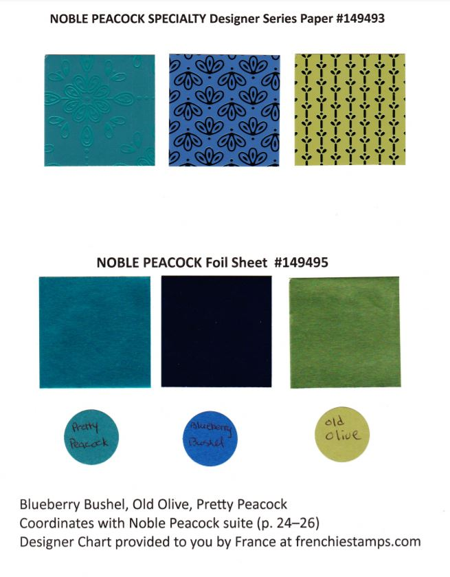 Noble Peacock Specialty Designer Paper and foil Sheet  by Stampin'Up! chart available at frenchiestamps.com