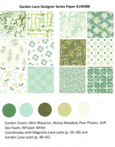 Garden Lane Designer Paper by Stampin'Up! chart available at frenchiestamps.com