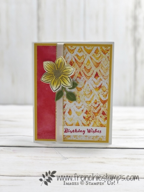 See A Silhouette Designer paper with Floral Essence stamp set for simple cards. Gold Heat Emboss and sponging for technique. All products by Stampin'Up! available at frenciestamps.com #stampinup #stamping #frenchiestamps #cardmaking #papercrafts #handmadecards #seeasilhouettedesignerpaper