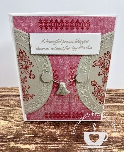 Swaps with Frenchie' Team. Stamp set Woven Heirlooms, Very Versailles and Fanciful Fragrance. All supplies by Stampin'Up! available at frenchiestamps.com