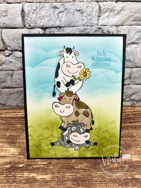 Fun card with Over the Moon Stamp set. I share hoe simple it is to stack up the cow. Supplies by Stampin'Up! avaialble at frenchiestamps.com #stampinup #stamping #frenchiestamps #cardmaking #papercrafts #handmadecards #stampingtechniquehowtovideo