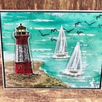 Sailing Home bundle with the Birch stamp for a ocean scene with light house. Using the Pigment Sprinkle for the color. All product by Stampin