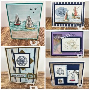 Swap cards with Frenchie' Team, Stamp Set Sailing Home and New Wonders
