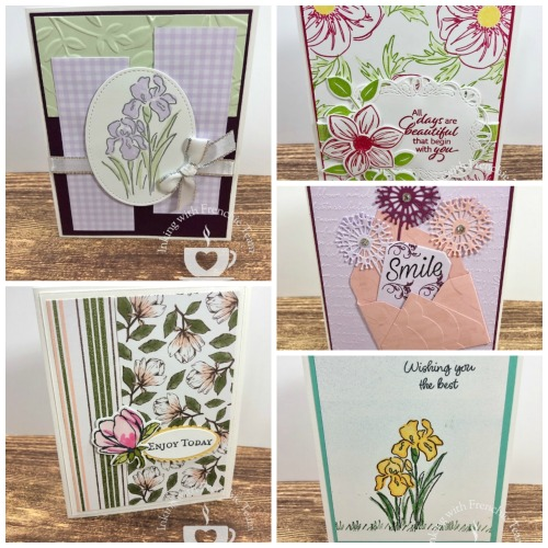 Swaps with Frenchie' Team. Stamp set Magnolia Lane, Floral essence, Inspiring Iris, Daisy Lane, Sweet Silhouette Die, Perennial Flower Punch. All supplies by Stampin'Up! available at frenchiestamps.com