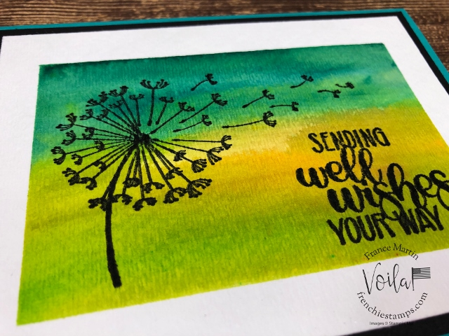 Faux frame suing the Pigment Sprinkle and painter tap. Stamp set Dandelion Wishes. Product by Stampin'Up! available at frenchiestamps.com #stampinup #stamping #frenchiestamps #cardmaking #papercrafts #handmadecards #stampingtechniquehowtovideo #pigmentsprinkles