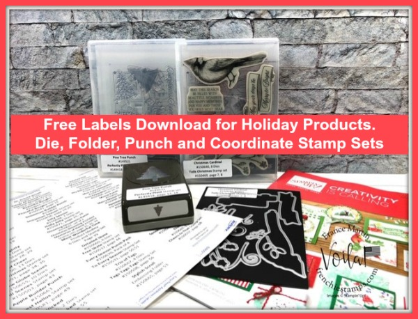 Stampin'Up! Holiday product labels to get organize